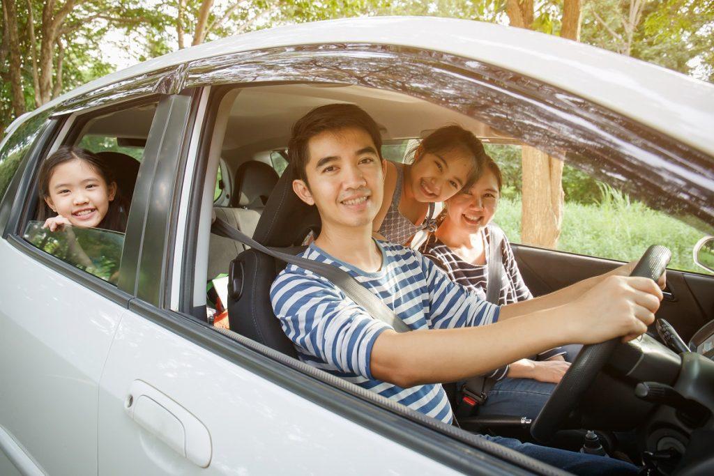 Family inside their minivan