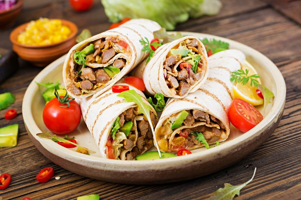 meat and veggie wrapped in pita
