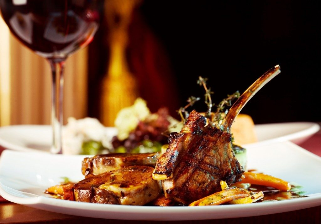 Lamb chops in a luxury restaurant