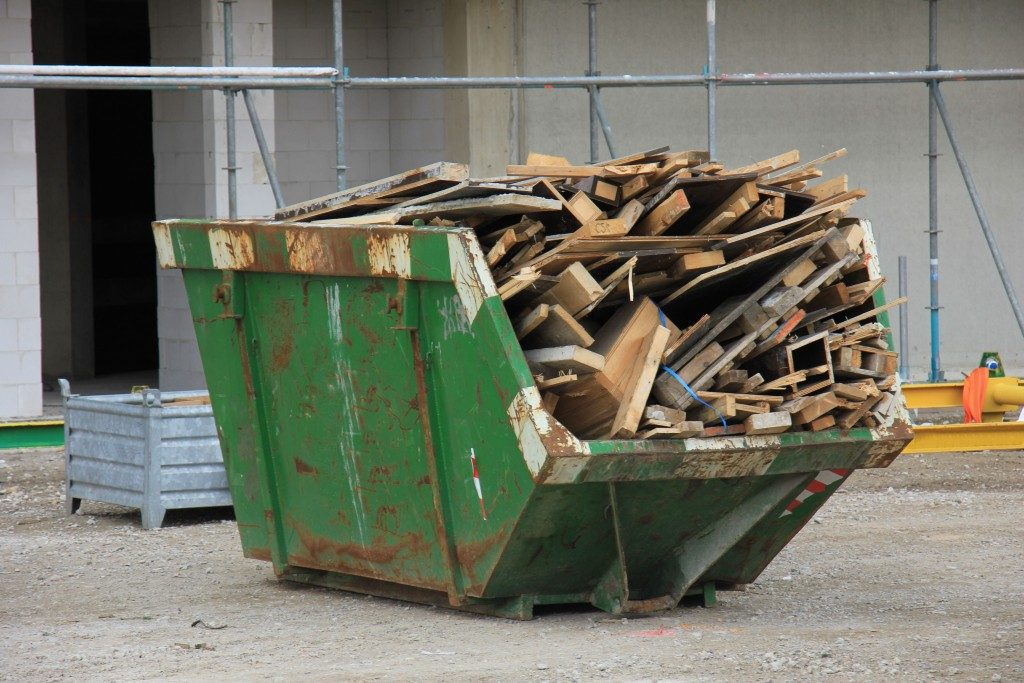 dumpster full of wood