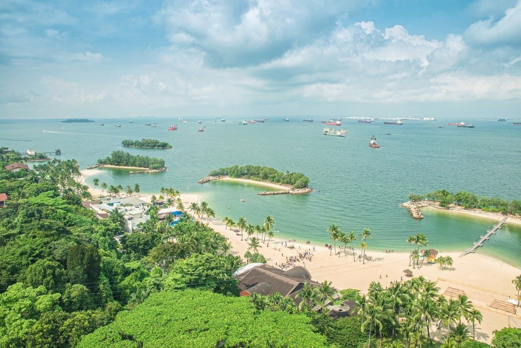 Aerial view of beach in Sentosa island, Singapore