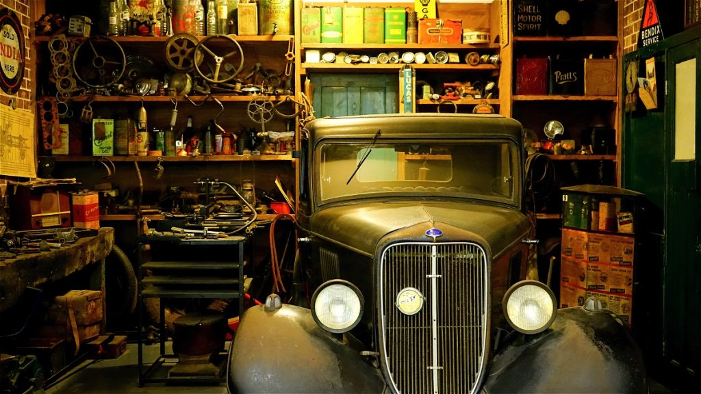 old car in the garage