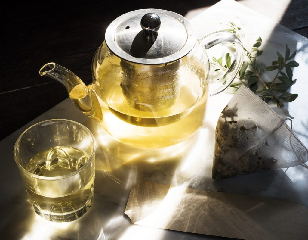 teapot with healthy green tea