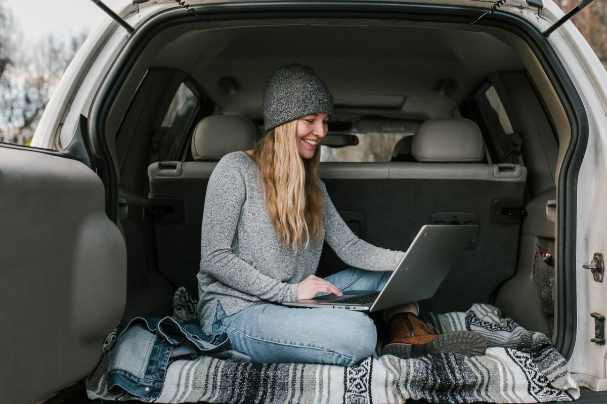 woman in a van