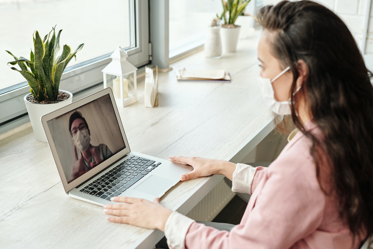 female employee having a virtual meeting
