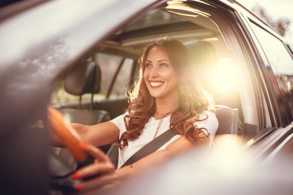 woman driving on a roadtrip